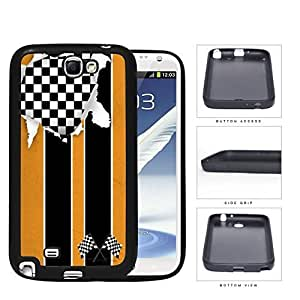 American Distorted Orange Racing Flag Rubber Silicone TPU Cell Phone Case Samsung Galaxy Note 2 II N7100 hjbrhga1544