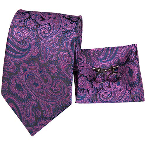 - Hi-Tie New Arrival Mens Purple Paisley Tie Necktie Pocket Square and Cufflinks Tie Set Gift Box
