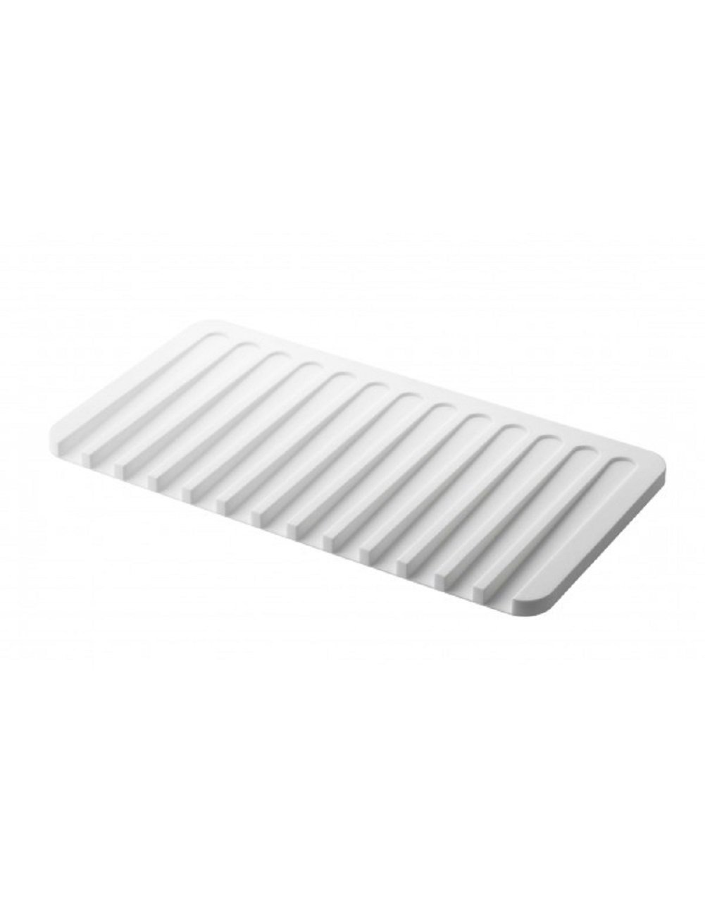 YAMAZAKI home 7395 Flow Soap Tray-Silicone Holder Dish for Sink, White