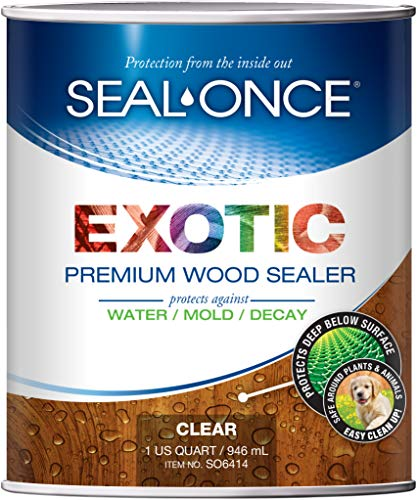 SEAL-ONCE Exotic Premium Wood Sealer, waterproofer & Stain. Enhanced Formula for denser Brazilian Hardwoods Like Ipe, Teak & Mahagony. Water-Based, Ultra-Low VOC, Non-Toxic, 11 Color Tints. (1 Quart) (Teak Sealant)
