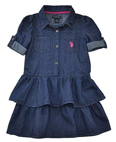 U.S. POLO ASSN. Little Girls' Denim Ruffle Tiered Dress, Pink Peak, 2T (Girls Pink Denim)