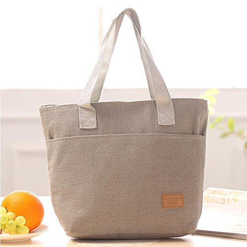 Large Capacity Insulated Hand Bag Durable Canvas Thermal Lunch Bag for Women(Color:grey) Baynne
