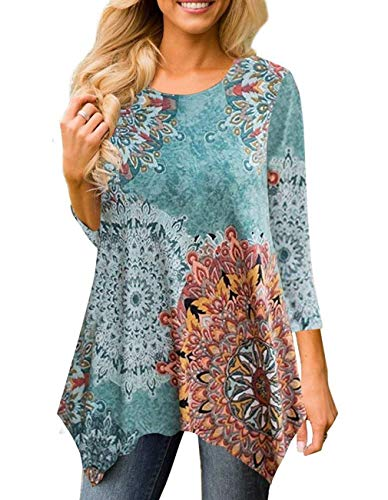 Women's 3/4 Sleeve Damask Floral Printed Tunic Tops with Pocket Casual Irregular Hem Asymmetrical Blouse T Shirt