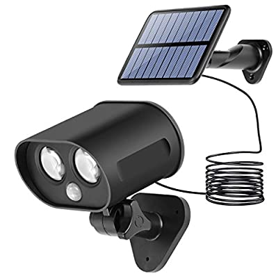 Onlykangfly Solar Lights Outdoor, LED Light Waterproof Powered Flood LED Wall Lighting Dual Head 360 Degree Rotatable Security Motion Sensor for Patio Porch Deck Yard Garden Garage Driveway Outsides …
