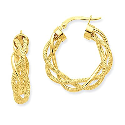 New Textured Twisted Hoop Earrings in 14k Yellow Gold, 6 x 25mm for sale