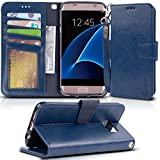 Galaxy s7 edge Case, Arae [Wrist Strap] Flip Folio [Kickstand Feature] PU leather wallet case with ID&Credit Card Pockets For Samsung Galaxy S7 edge (Blue)
