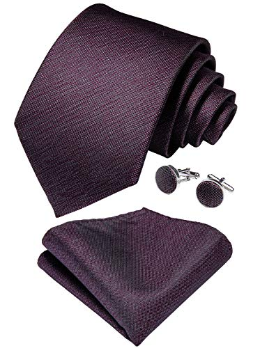 - DiBanGu Men's Plum Purple Tie Pocket Square Solid Woven Tie Cufflink Tie Clip Set Formal