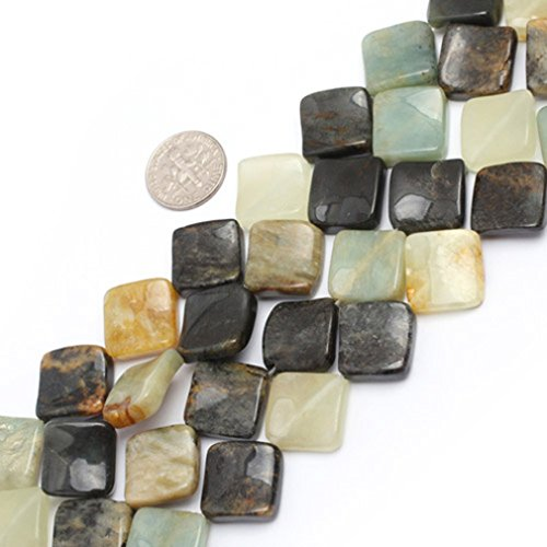 15mm Square Twist Gemstone Hua Show Jade Beads Strand 15 Inch Jewelry Making (Jade Beads Strands)