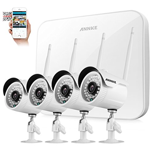 [Full HD]Wireless Security Camera System,ANNKE 4CH 1080P Wireless Video Security System(NVR KITS),4pcs 1080P 2.0MP Wireless Indoor/Outdoor Wireless IP Cameras,P2P,100ft Night Vision,No Hard Drive