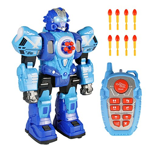 Liberty Imports Large Remote Control Robot Toy for Kids - RC Robot Shoots Darts, Walks, Talks, and Dances (10 Functions) ()