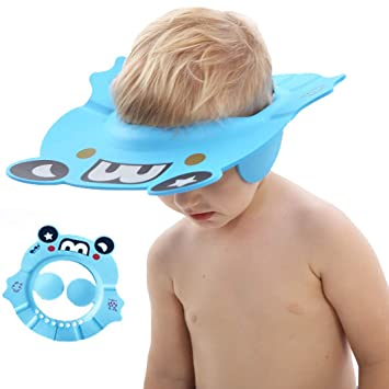 Green ,Blue Adjustable Shower Cap Kids Baby Silicone Shower Cap Bathing Hat Infants Soft Protection Funny Safety Visor Cap for Toddler Children