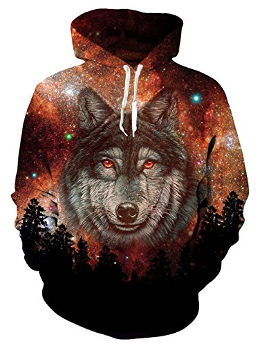 Loveternal Wolf Hoodie Galaxy with Kangaroo Pocket Pullover Hoodie Casual Sweatshirts Women Men -