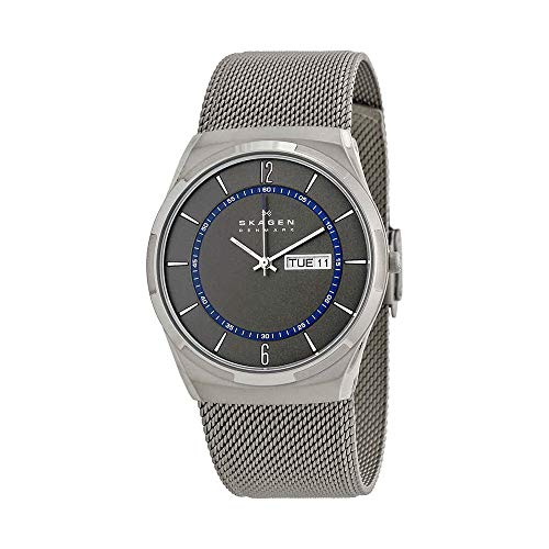 Skagen Men's Melbye Quartz Titanium and Stainless Steel Mesh Casual Watch, Color: Grey (Model: SKW6078)