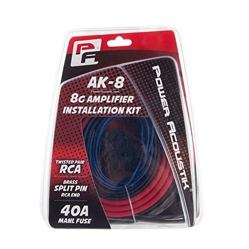 Power Acoustik AK-8 8 Gauge Amp Wire Kit with 17 RCA 80A Manl Fuse