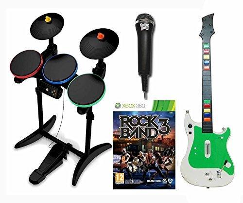 XBox 360 ROCK BAND 3 Video Game w/Guitar, Hero Wireless Drums/Mic Bundle - Guitar Mic Drums