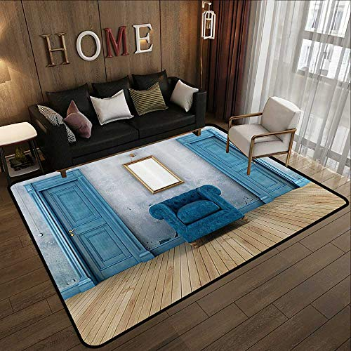 Personalized Floor mats,Blue Antique,Empty Room with Two Doors Armchair and Simple Mirror with Golden Color Frame,Turquoise Blue Ivory 78.7