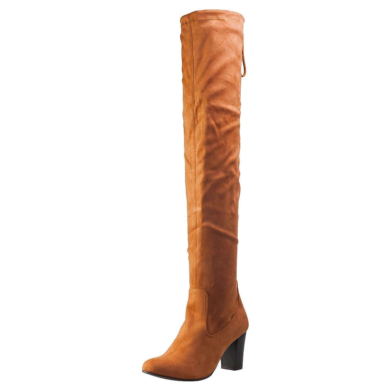 Aktuelle Damen Stiefel Schuhe Overknee Reissverschluss 7361 Grau 41