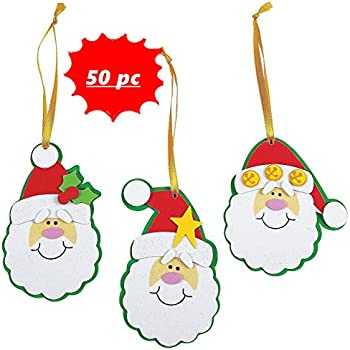 Simple Santa Christmas Ornament Craft Kit -- Makes 50 - Bulk Class Pack