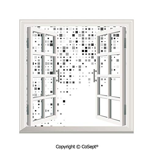 SCOXIXI Open Window Wall Mural,Digital Pattern Composed of Geometric Elements Radiant Rectangle Parallel Picture,for Living Room(26.65x20 inch)