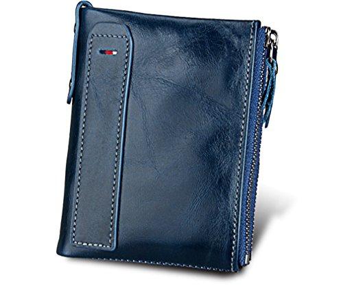 Hommes de Monnaie Portefeuille Court Zipper Titulaire Portefeuille Blue Pour En Mode Haoling Femmes la Porte Double Carte Femmes Véritable Portefeuille Cuir qwZxpXT