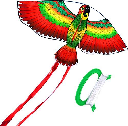 HENGDA KITE- Kites For Kids Children Lovely Cartoon Red Parrot Kites With Flying Line ()