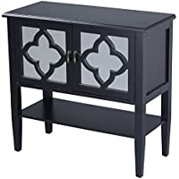 Heather Ann Creations Modern 2 Door Accent Console Cabinet With 4 Pane Clover Mirror Insert and Bottom Shelf Black