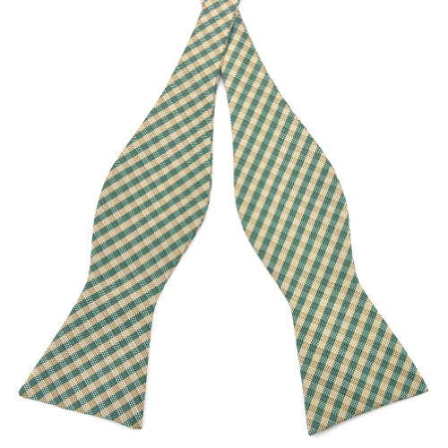 Pensee Mens Self Bow Tie Plaids & Checked Jacquard Woven Silk Bow Ties-Various Colors (Green & Brown Plaids)