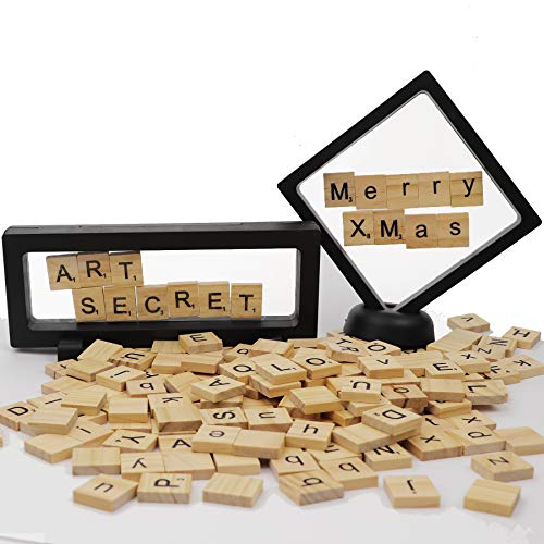 200pcs Scrabble Tiles Wooden Word Letter Board with 3D Display Stand Box for Craft Festival - 3 Letter Words D