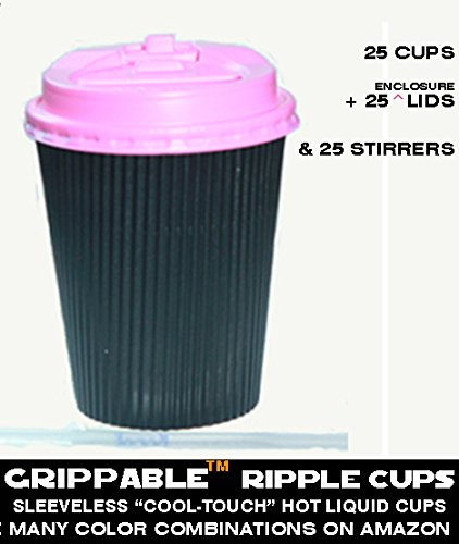 Grippable Hot Liquid Cups Ripple Insulated Hot/Cold Drink Cups, Lids Stirrers Disposable, 12 oz. 25 Packets