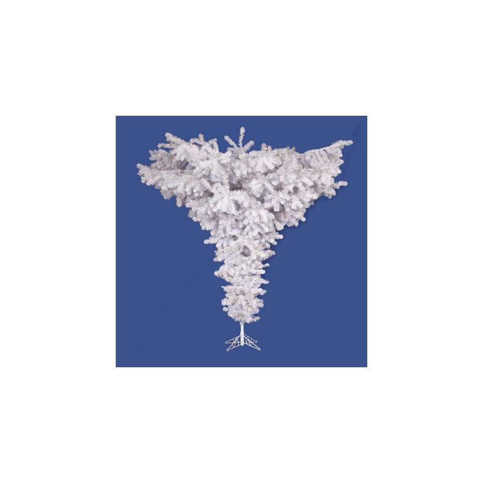 7.5 Pre Lit Crystal White Spruce Artificial Upside Down Christmas Tree   Clear