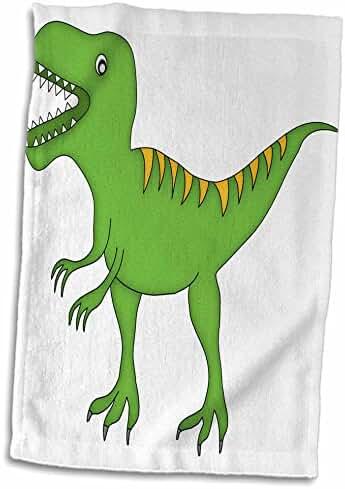 3dRose Anne Marie Baugh - Dinosaurs - Green and Yellow Dinosaur Growling - 12x18 Hand Towel (twl_222498_1)