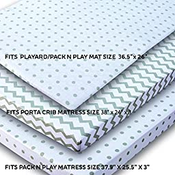 Ely\'s & Co. Kid\'s Waterproof Pack n Play Portable Mini Crib Sheet with Mattress Pad Cover Protection, White and Grey Chevron and Polka Dots (2 Pack)