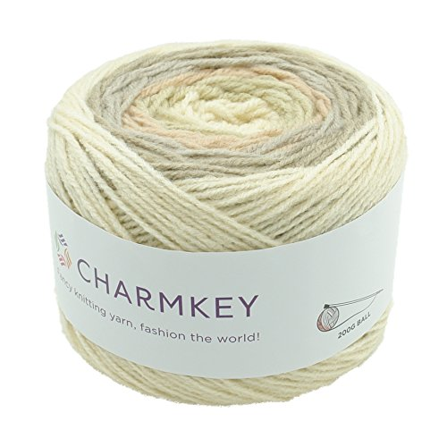 Charmkey Romantic Cake Yarn 4 Ply Super Soft 4 Medium Acrylic Wool Blended Colorful Self Striping Hand Dyed Gradient Mix-Colored Knitting Crocheting Thread, 1 Skein, 7.05 Ounce (Rice ()