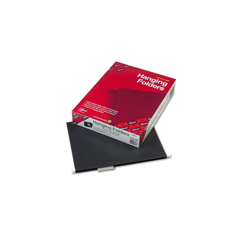 Smead Products   Smead   Hanging File Folders, 1/5 Cut, 11 Point Stock, Letter, Black, 25/Box   Sold As 1 Box   Vivid colors help you code files for quick, easy identification.   Smooth gliding coated rod tips.   Durable 11 pt. stock.   Adjustable, color m