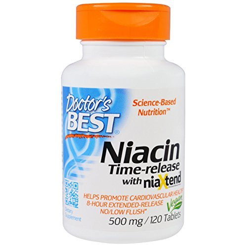 Doctor's Best, Niacin, Time-Released With Niaxtend, 500 mg, 120 Tablets - 2pc
