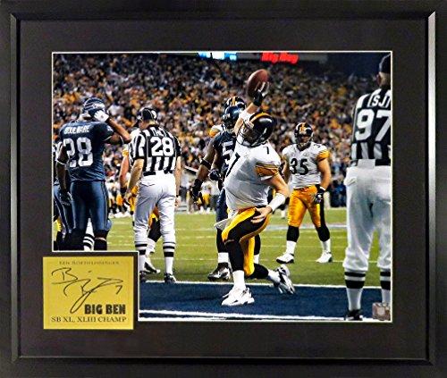 (Pittsburgh Steelers Ben Roethlisberger SB XL TD 16x20 Photograph (SGA Signature Engraved Plate Series Series) Framed)