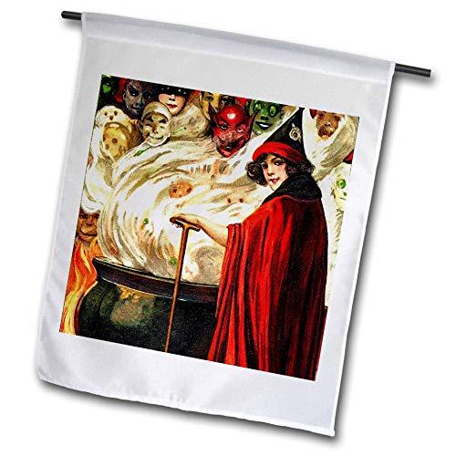 3dRose fl_159957_1 Schmucker Halloween Cauldron Garden Flag, 12 by 18-Inch