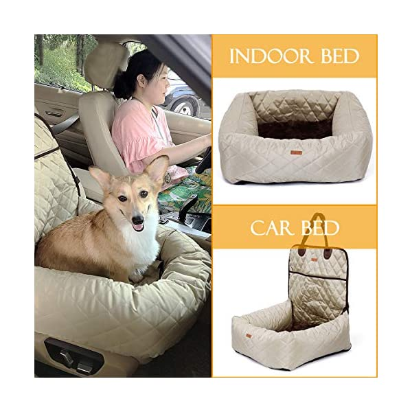 MONIKI 2in1 Dog Car Seat Bed - Waterproof & Nonslip Cat Traveling Front Booster Seats, Removable cover & Cushion 7