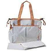 Diaper Tote Bags - Multi-Function Waterproof Travel Tote Bag Nappy Bags for Baby Care with Stroller Straps, Changing Pad and Sundry Bag, Large Capacity, Stylish and Durable, (Stripe)