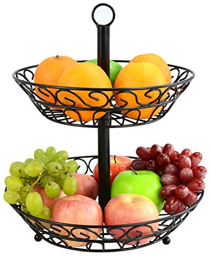 Surpahs 2-Tier Countertop Fruit Basket Stand (Beautiful Fruit Basket)