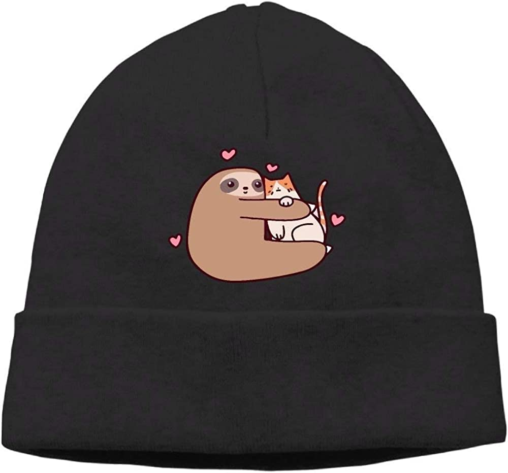 boy Unisex Sloth Embraces The Cat Classic Fashion Daily Beanie Hat Skull Cap Go Ahead