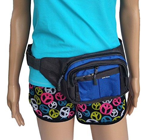 (4 Pocket Utility Fanny Pack - Waist Bag Beach Travel Water Sports (Blue))