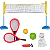 deAO Racket Sports 3 in 1 Playset for Tennis, Badminton and Squash Games for Children Include Rackets, Balls and Net