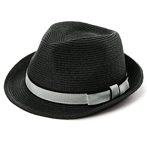 "Large Head Mens Straw 24"" inch Fedora Panama Hat Women Summer Beach Packable Gangster Black"