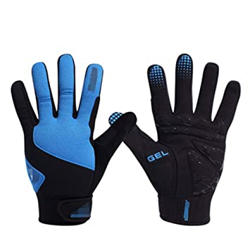 Azules Hombres y Mujeres Los Guantes para Montar en Bicicleta HuanXin-ZX093 se refieren a los Guantes de Pantalla táctil cálidos a Prueba de Viento de Invierno de montaña Larga