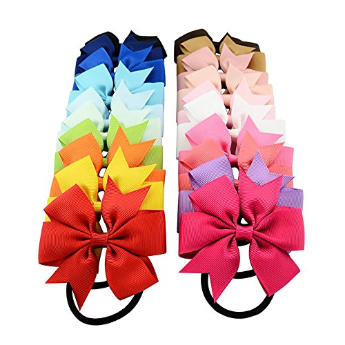 Yariew 20 Pcs Hair Bows Ties Ponytail Holder, 3 Inches Grosgrain Ribbon Pinwheel Boutique Hair Bows Elastic Hair Ties for Teens Kids Girls, Christmas - Fancy Girl Ribbon