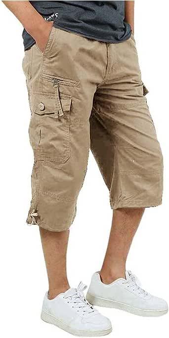 Amazon.com: FASKUNOIE Men's 3/4 Cotton Cargo Short Pants