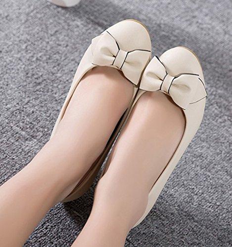 Aisun Donna Carino Tacco Medio A Tacco Basso Taglio Dressy Slip On Party Scarpe Con Zeppa Da Sposa Scarpe Con Fiocchi Beige