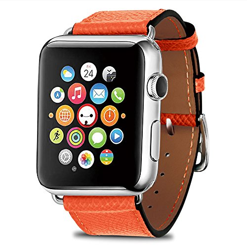 TEXSCOPE Compatible with iWatch Band iWatch Genuine Leather Straps Single Tour Watch Band Replacement with Stainless Steel Adapter Clasp for iWatch Series 3/2/1/Edition/Sport (Orange, 42mm)