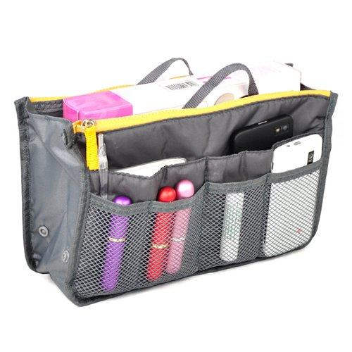 (Nylon Handbag Insert Comestic Gadget Purse Organizer (Grey))